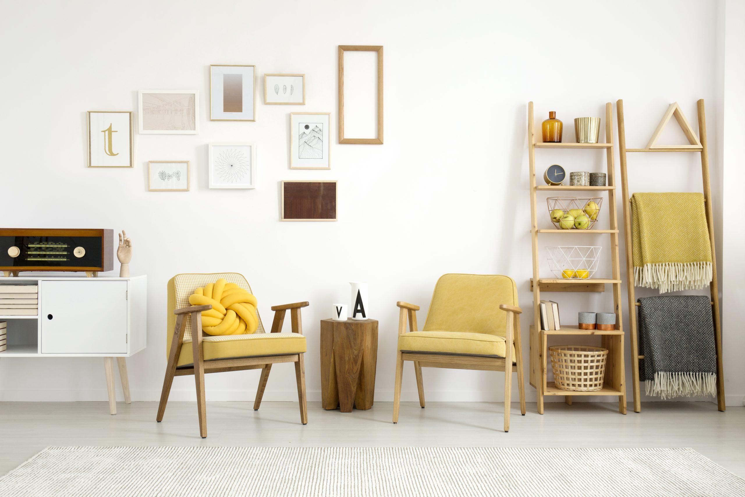 Framefox gallery wall Yellow living room interior