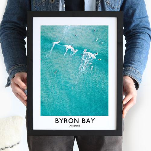 Aussie art Byron Bay Travel Poster Caption Frame Framefox
