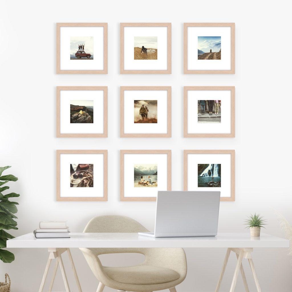 mini grid gallery wall photo series frames wall art studio study office